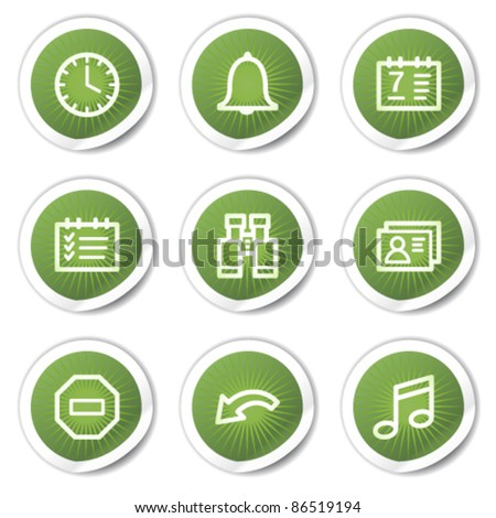 Organizer web icons, green stickers