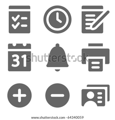 Organizer web icons, grey solid series