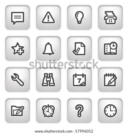 Organizer web icons on gray buttons.
