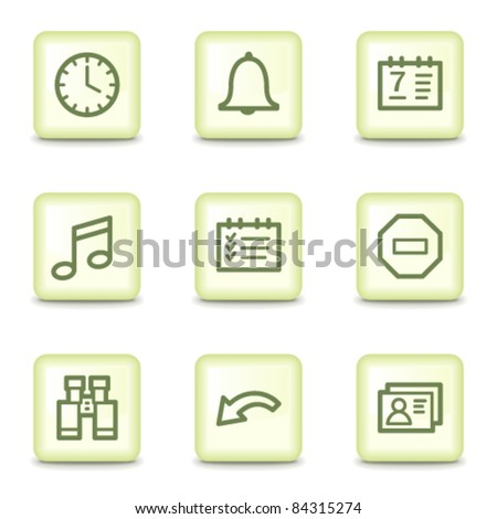 Organizer web icons, salad green buttons