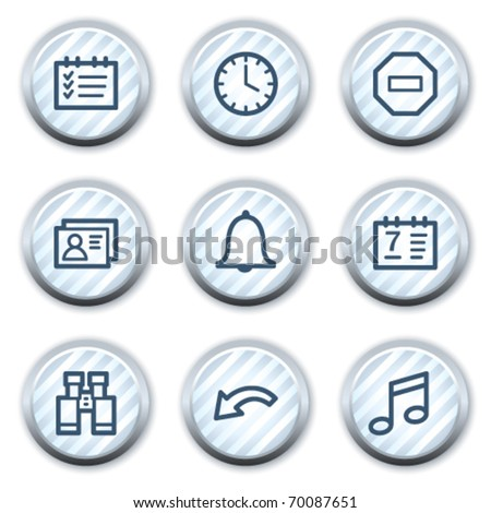 Organizer web icons, stripped light blue circle buttons