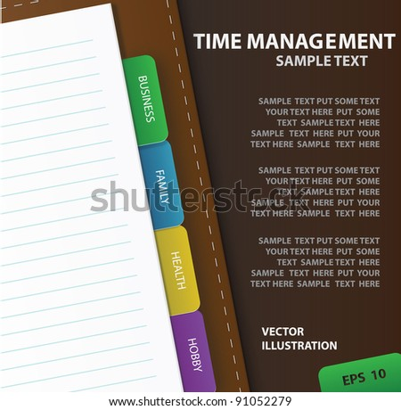 organizer with spheres of life. vector illustration