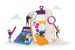 Organizing Accounting, Financial, Banking Data. Tiny Accountant Characters around of Huge Clip Board Filling Bookkeeping Graphs and Charts Counting Debit and Credit. Cartoon People Vector Illustration