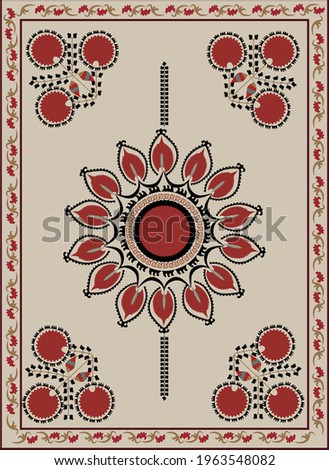 Orient carpet suzani - traditional art in Central Asia. Embroidery textile product.