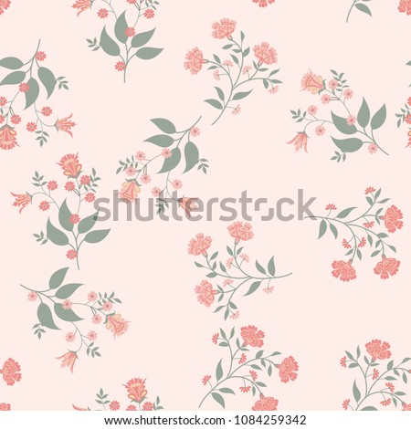 Orient seamless floral pattern. Small indian flowers, free order. Decorative flower print for wallpaper, dress, clothes, surface. Trendy colors. Shabby chic
