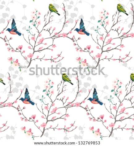 Orient style flower,seamless spring branch with bird vector pattern