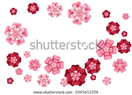 Oriental apricot or japanese cherry blossom petals isolated, flower elements falling vector illustration. Windy petals and pink flower vector elements flying, bloom confetti.