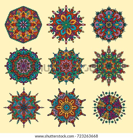 Oriental asian doodle colorful mandala vector set