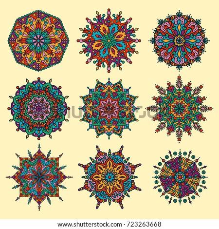 Oriental asian doodle colorful mandala vector set