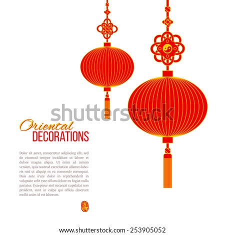 oriental asian red paper