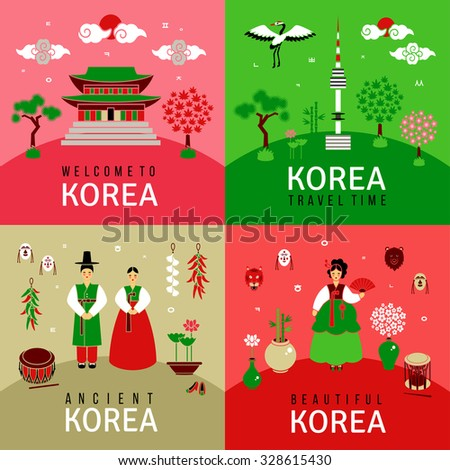 oriental banners set square