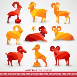 Oriental Chinese New Year Goat 2015 Vector Design (Chinese Translation: Year of Goat)