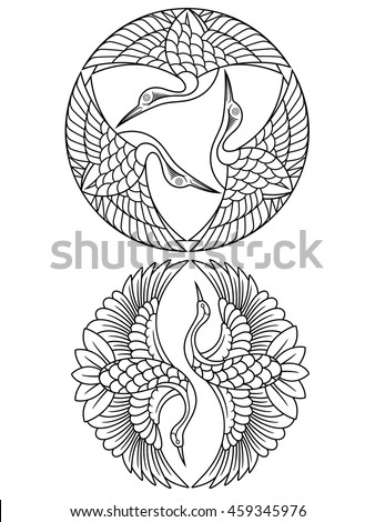 oriental cranes emblems outline