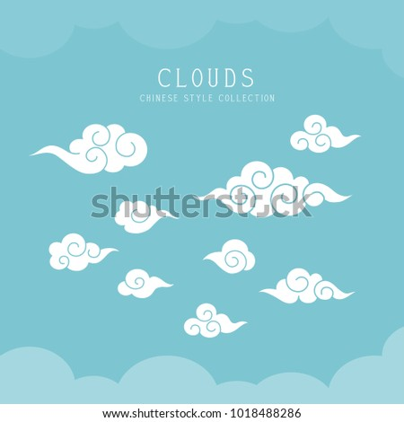 oriental  curly clouds on blue