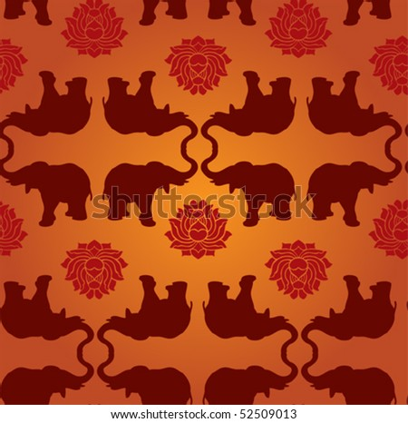 Oriental elephant and lotus seamless pattern background