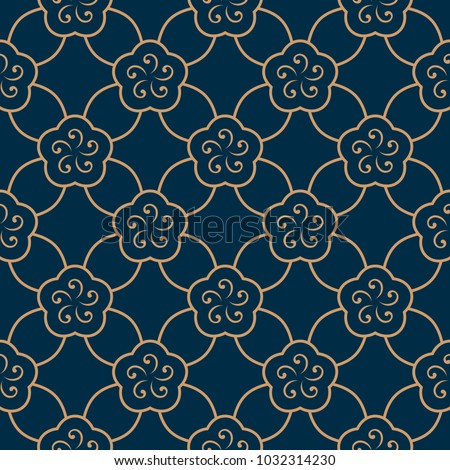 Oriental floral vintage ornament. Simple geometric all over design. Gold lineal flowers indigo blue decorative seamless motif. Printing block for interior textile, wallpaper, fabric cloth, phone case.