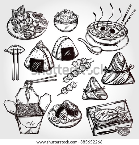 oriental foods set poster in