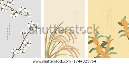 Oriental Japanese style abstract pattern background design nature plant cotton ear of rice and Osmanthus flowers Foto d'archivio ©