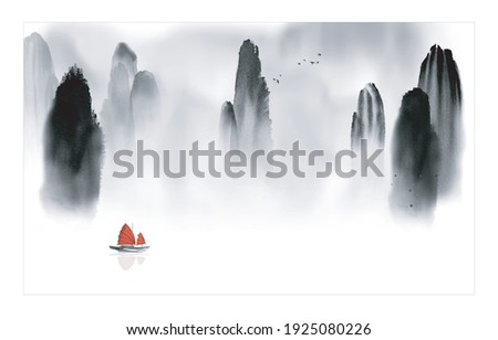 Oriental landscape with fishing boat and high mountain rocks. Traditional oriental ink painting sumi-e, u-sin, go-hua Photo stock ©