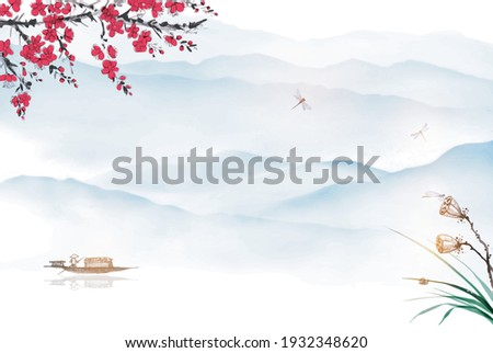 Oriental landscape with fishing boat, lotus, sakura blossom and distant blue mountains. Traditional oriental ink painting sumi-e, u-sin, go-hua