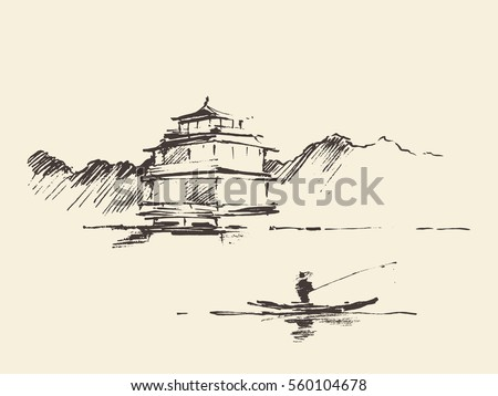oriental landscape with pagoda