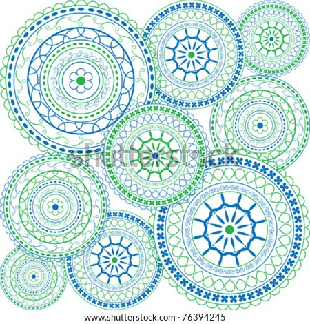Oriental ornaments in blue and green
