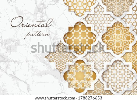 Oriental pattern. Vector golden background in arabic, moroccan style for design