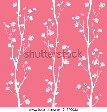 Oriental plum blossom seamless pattern