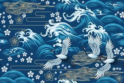 Oriental sea seamless decorative pattern
