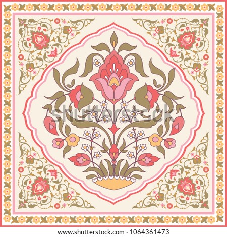Oriental style ornate floral design