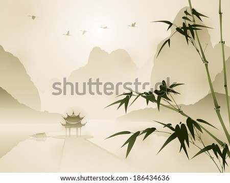 oriental style painting  bamboo