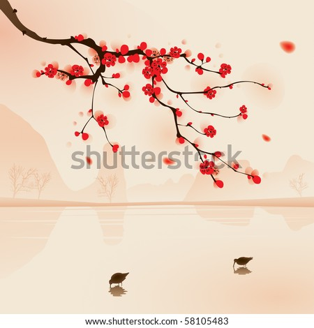 Oriental style painting, plum blossom above the water with birds drinking water in Spring. Vectorized brush painting.
