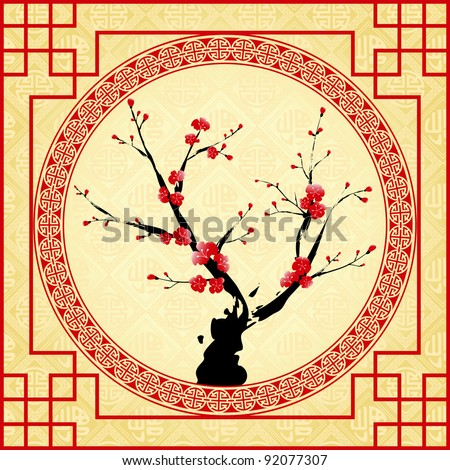 Oriental style painting, Plum blossom, Cherry blossom