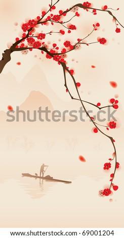 oriental style painting  plum