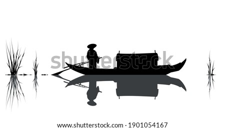 oriental style sceen  boat and