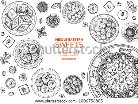 oriental sweets vector