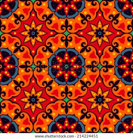Oriental traditional floral ornament Italian seamless pattern tile design vector illustration