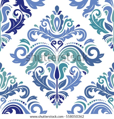 Oriental vector classic colored pattern. Seamless abstract background with repeating elements. Orient background.