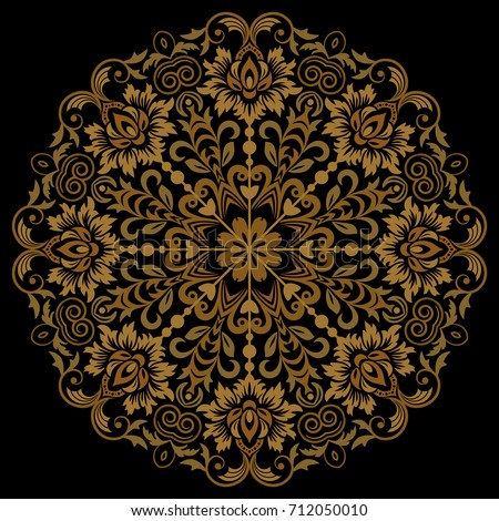 Oriental vector round golden pattern with arabesques and floral elements