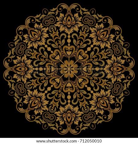 oriental vector round golden...