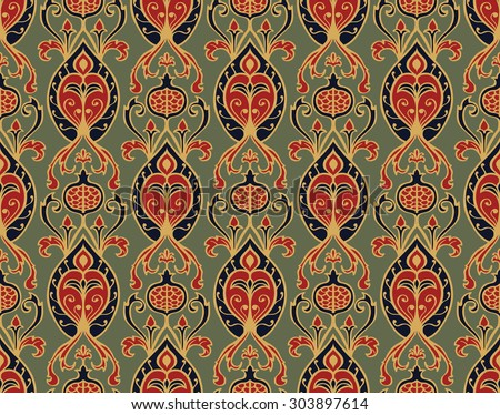 Oriental, vintage pattern with pomegranates. Vector seamless ornament of ornate elements on a gray-green background. Old-fashioned wallpaper. Template for the fabric. - stock vector