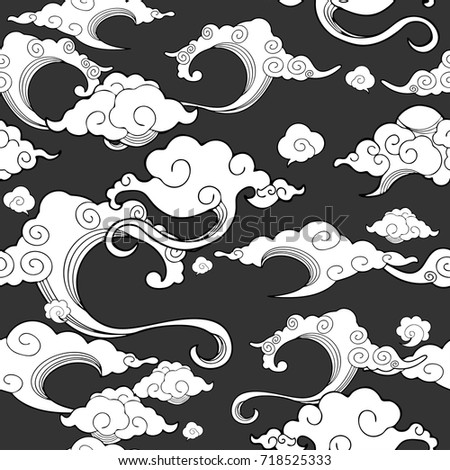 oriental withe cloud ornament seamless with deep gray background vector