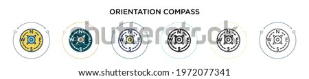 Orientation compass icon in filled, thin line, outline and stroke style. Vector illustration of two colored and black orientation compass vector icons designs can be used for mobile, ui, web ストックフォト ©