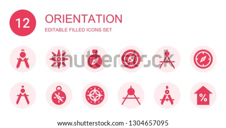 orientation icon set. Collection of 12 filled orientation icons included Compass, Navigation, Arrow