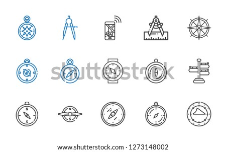 orientation icons set. Collection of orientation with compass, signpost, navigation, wind rose. Editable and scalable orientation icons.