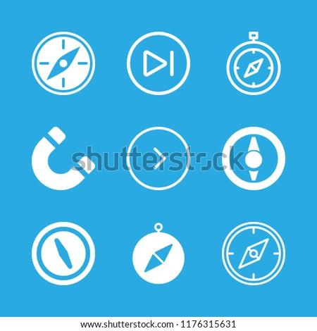 orientation icons set with next, magnet rotated tool symbol and compass orientation tool vector set