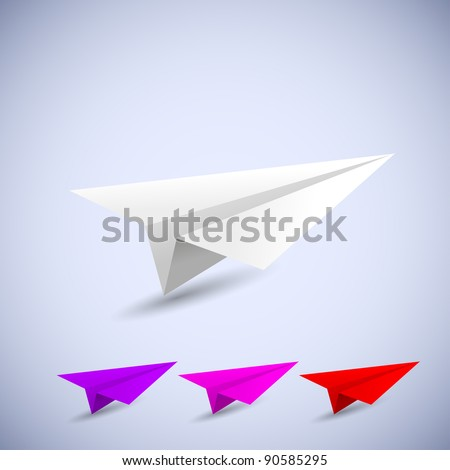 origami airplane set. vector illustration