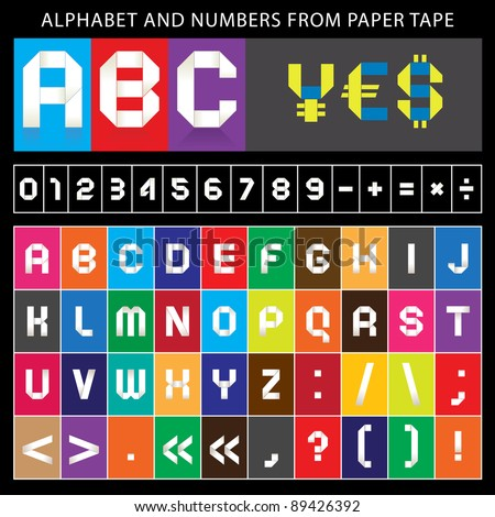 Origami alphabet, folded paper tape, font ribbon. Roman alphabet (A, B, C, D, E, F, G, H, I, J, K, L, M, N, O, P, Q, R, S, T, U, V, W, X, Y, Z). Arabic numerals (0, 1, 2, 3, 4, 5, 6, 7, 8, 9). - stock vector