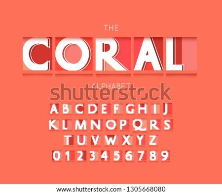 Origami alphabet letters and numbers. Living coral font paper style #1305668080