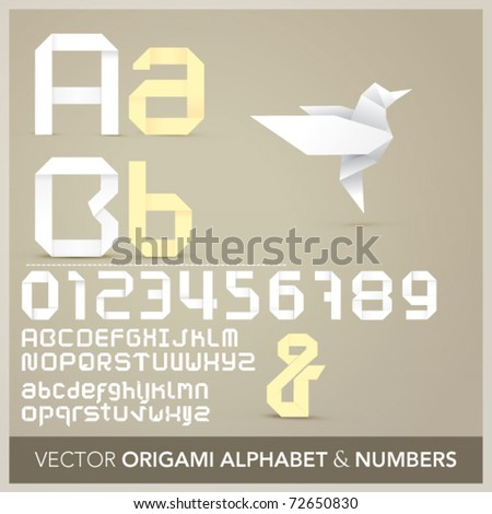 Origami alphabet letters and numbers  with origami object - stock vector